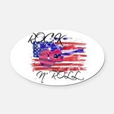rOCK N ROLL SCRIPT FLAG Oval Car Magnet