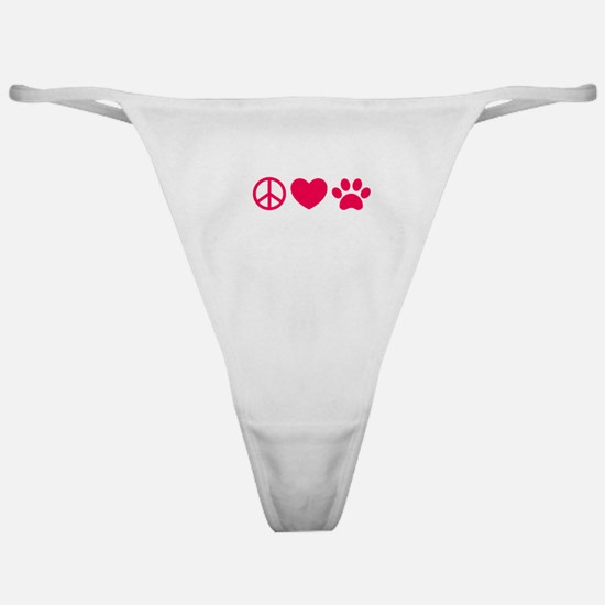Peace, Love, Pets Classic Thong