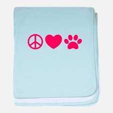 Peace, Love, Pets baby blanket