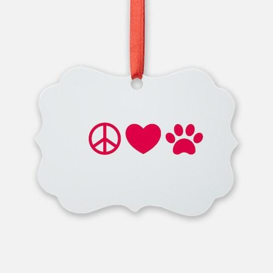 Peace, Love, Pets Ornament