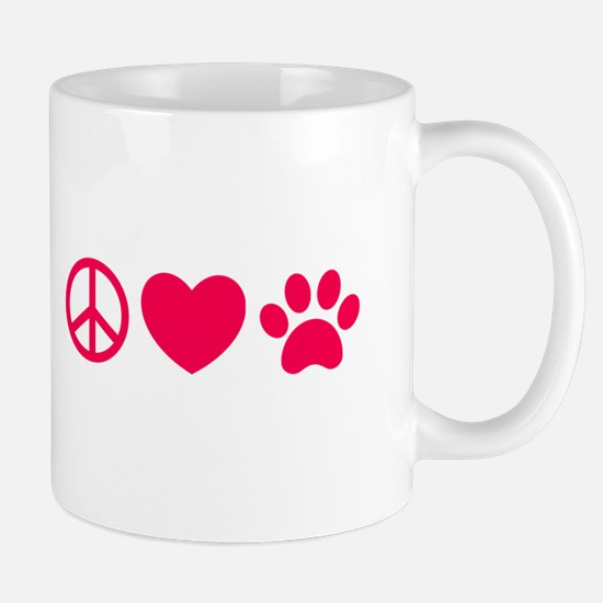 Peace, Love, Pets Mugs