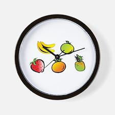 Cartoonish fruits Wall Clock