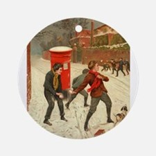 Snowball Fight Round Ornament