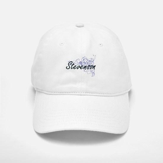 Stevenson surname artistic design with Flowers Baseball Baseball Cap