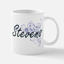 Stevens surname artistic design with Flowers Mugs