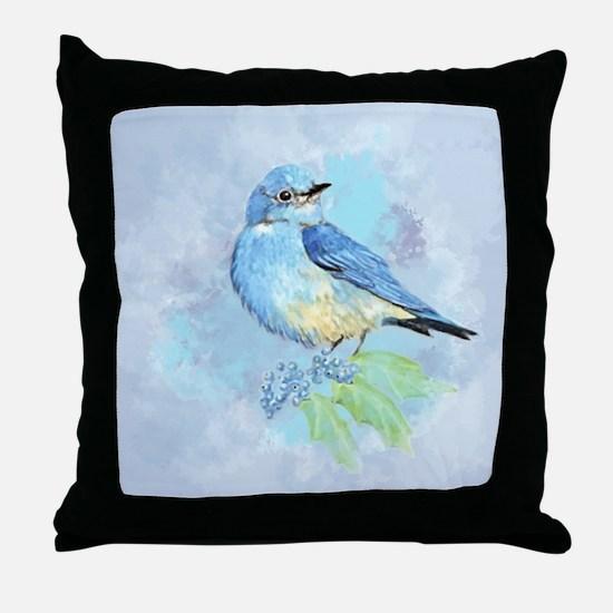 Watercolor Bluebird Blue Bird Art Throw Pillow