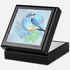 Watercolor Bluebird Blue Bird Art Keepsake Box