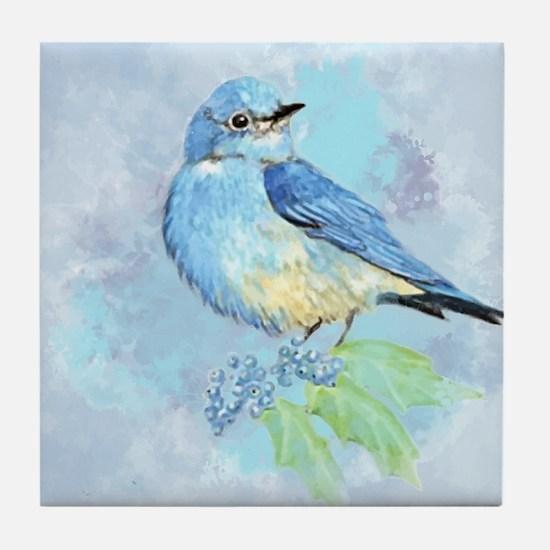 Watercolor Bluebird Blue Bird Art Tile Coaster