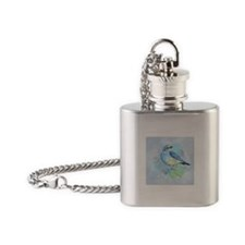 Watercolor Bluebird Blue Bird Art Flask Necklace