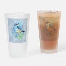 Watercolor Bluebird Blue Bird Art Drinking Glass