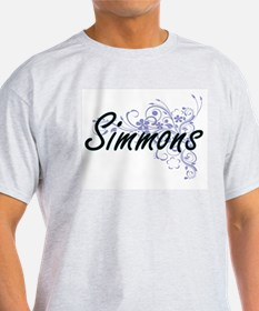 Simmons surname artistic design with Flowe T-Shirt