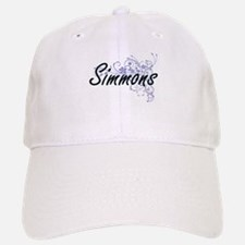 Simmons surname artistic design with Flowers Baseball Baseball Cap