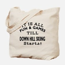 Down Hill Skiing Fun And Games Designs Tote Bag