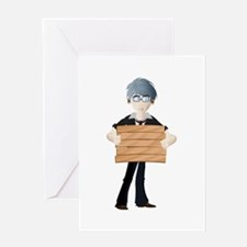 Young boy with wooden hording Greeting Cards