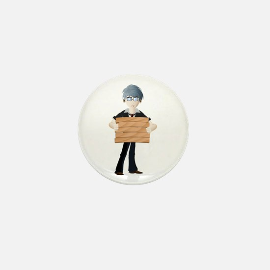 Young boy with wooden hording Mini Button