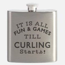 Curling Fun And Games Designs Flask