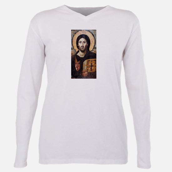 Jesus Christ Pantocrator Plus Size Long Sleeve Tee