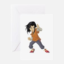 Jackie Chan Adventures girl cartoon Greeting Cards