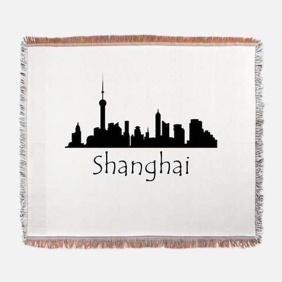 Shanghai China Cityscape Woven Blanket