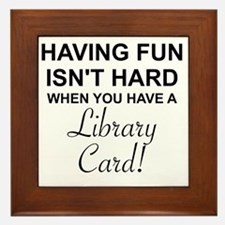 Cute Fun library Framed Tile