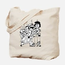 Man reading newspaper and having coffee Tote Bag