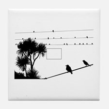 Birds silhouette on wire Tile Coaster