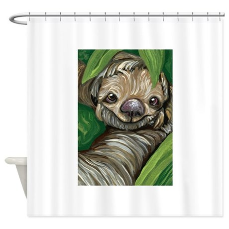 Sloth shower curtain by carlaspetportraits for Sloth kong shower curtain