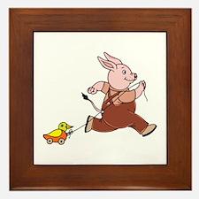 Rabbit Pulling Duck Toy Framed Tile