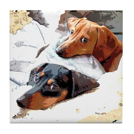 Naptime Dachshund Dogs Tile Coaster