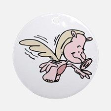 Pig with wings Flying Round Ornament