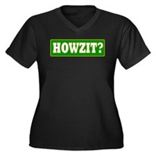 Howzit Women's Plus Size V-Neck Dark T-Shirt
