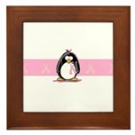 Pink Ribbon Penguin Framed Tile