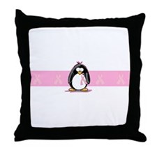 Pink Ribbon Penguin Throw Pillow