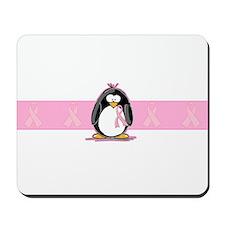 Pink Ribbon Penguin Mousepad