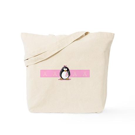 Pink Ribbon Penguin Tote Bag