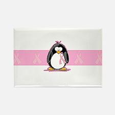 Pink Ribbon Penguin Rectangle Magnet