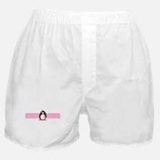 Pink Ribbon Penguin Boxer Shorts
