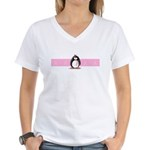Pink Ribbon Penguin Women's V-Neck T-Shirt