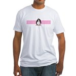 Pink Ribbon Penguin Fitted T-Shirt