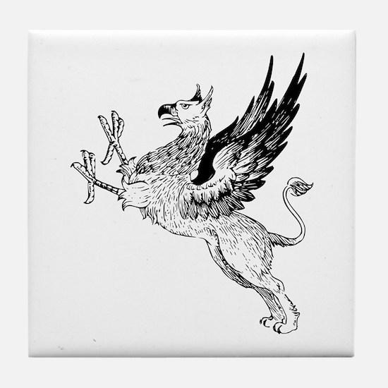 Griffin silhouette Tile Coaster