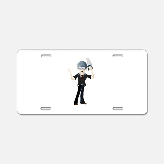 Young man cartoon with saw Aluminum License Plate