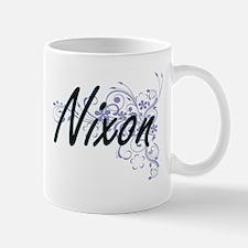 Nixon surname artistic design with Flowers Mugs