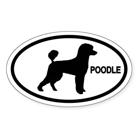 Poodle Oval Sticker