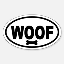 WOOF and Bone Oval Decal