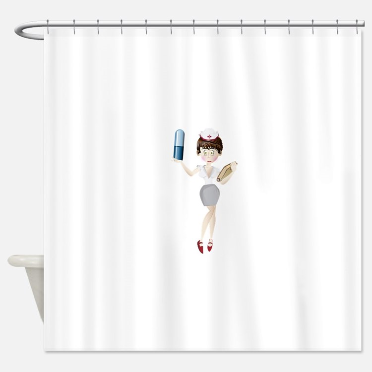 Nurse with capsule and valet Shower Curtain