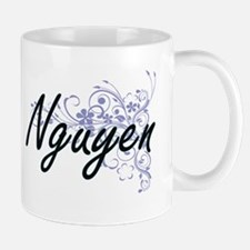 Nguyen surname artistic design with Flowers Mugs