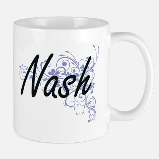 Nash surname artistic design with Flowers Mugs