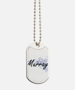 Murray surname artistic design with Flowe Dog Tags