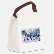 Snow Horses Canvas Lunch Bag