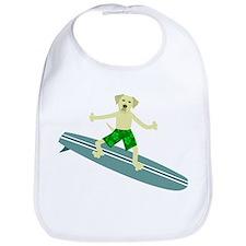 Yellow Labrador Retriever Surfer Baby Bib